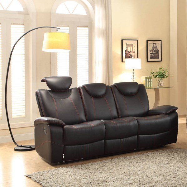 Talbot Contemporary Bonded Leather Double Reclining Sofa HE-8524-SF-VAR