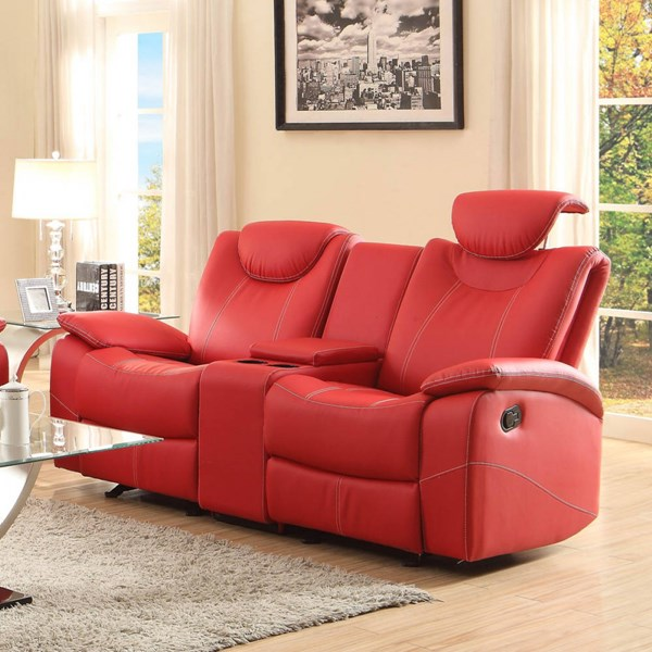 Talbot Red Bonded Leather Double Glider Reclining Loveseat w/Console HE-8524RD-2