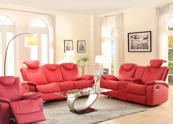Talbot Contemporary Red Bonded Leather Reclining 3pc Living Room Set HE-8524-LR-S2