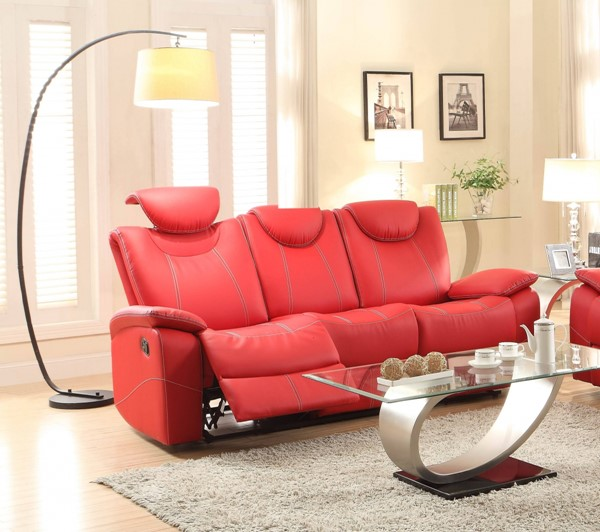 Talbot Contemporary Red Bonded Leather Double Reclining Sofa HE-8524RD-3