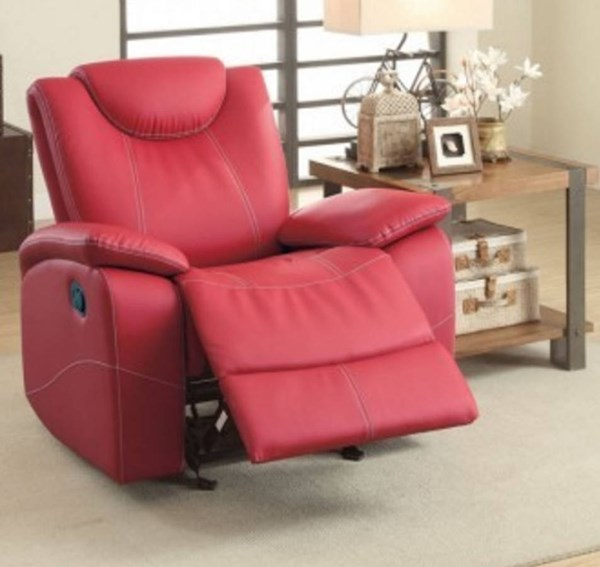 Talbot Contemporary Red Bonded Leather Glider Reclining Chair HE-8524RD-1