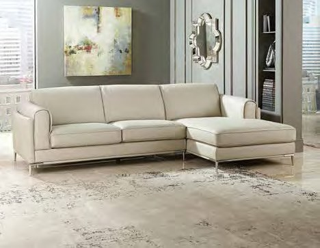 Hugo Contemporary Beige Grain Leather Split Leather Left Side 2-Seater HE-8537-L