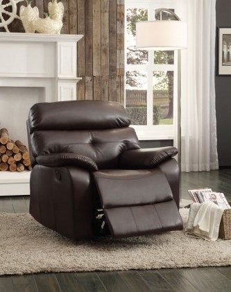 Evana Dark Brown Bonded Leather Glider Reclining Chair HE-8539-1