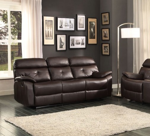 Evana Bonded Leather Double Reclining Sofa w/Drop-Down Cup Holders HE-8539-3