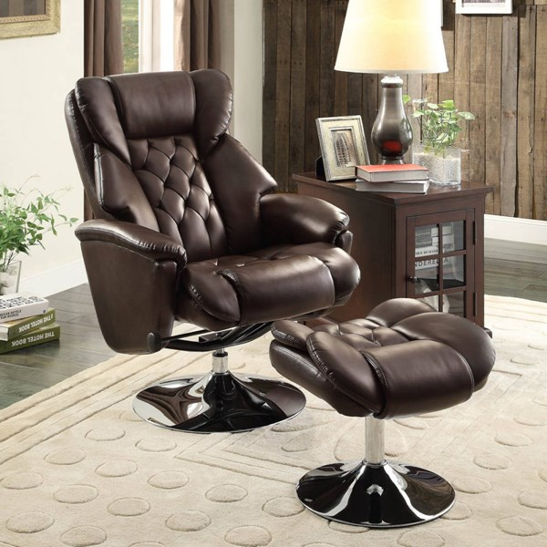 Aleron Dark Brown Bonded Leather Swivel Reclining Chair w/Ottoman HE-8548BRW-1