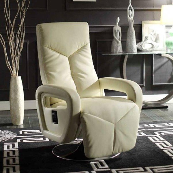 Diem Contemporary Taupe Bonded Leather Swivel Reclining Chair HE-8549TPE-1