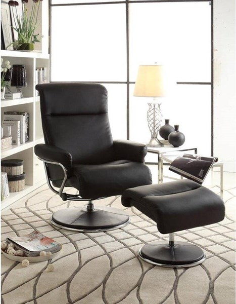 Caius Black Bonded Leather Swivel Reclining Chair w/Ottoman HE-8550BLK-1