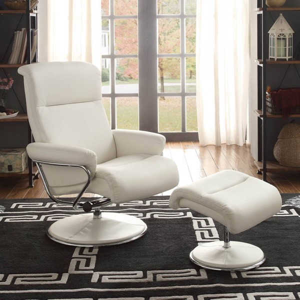 Caius Contemporary Bonded Leather Swivel Reclining Chair w/Ottoman HE-8550-CHO-VAR