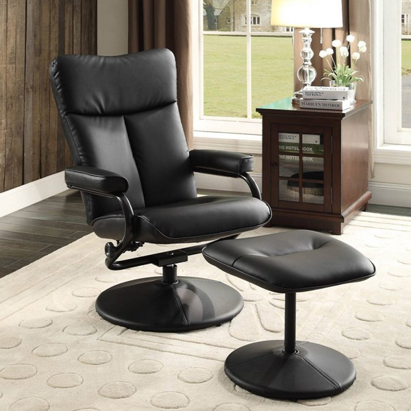 Alida Contemporary Bonded Leather Swivel Reclining Chair w/Ottoman HE-8555-CHO-VAR