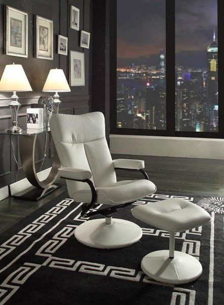 Alida White Bonded Leather Swivel Reclining Chair w/Ottoman HE-8555WHT-1