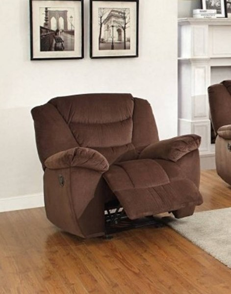 Cardwell Chocolate Microfiber Glider Reclining Chair HE-8556CH-1