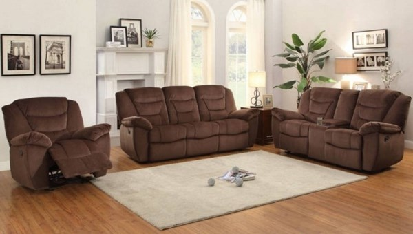 Cardwell Chocolate Microfiber 3pc Living Room Set HE-8556CH-LR-S1
