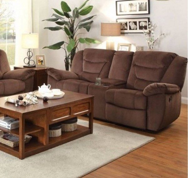 Cardwell Microfiber Double Glider Reclining Loveseat w/Console HE-8556CH-2