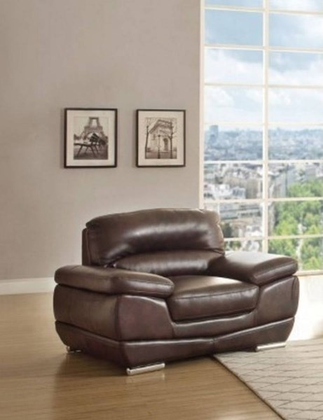 Triplett Contemporary Dark Brown Faux Leather Chair HE-8557-1
