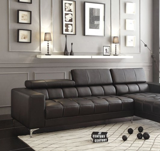 Quillen Contemporary Black Bonded Leather Left Side 2-Seater HE-8558-L
