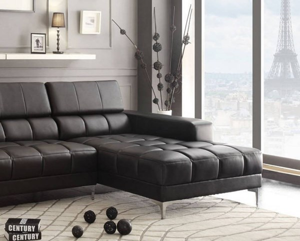 Quillen Contemporary Black Bonded Leather Right Side Chaise HE-8558-R