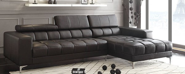 Quillen Contemporary Black Bonded Leather Sectional HE-8558