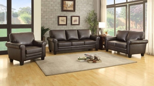 Hume Traditional Dark Brown Bonded Leather 3pc Living Room Set HE-8579DB-LR-S1