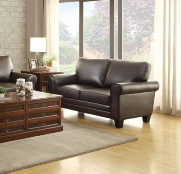 Hume Traditional Dark Brown Bonded Leather Loveseat HE-8579DB-2