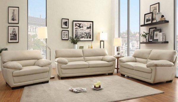 Adrian Contemporary Taupe Bi-Cast Vinyl 3pc Living Room Set HE-8588-LR-S2