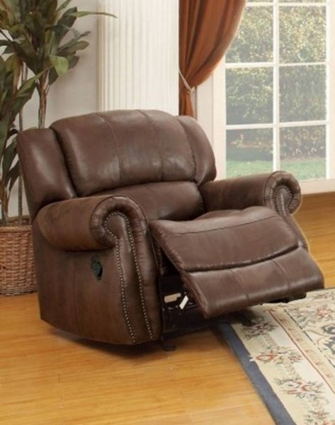 Levasy Transitional Brown Microfiber Glider Reclining Chair HE-8589-1