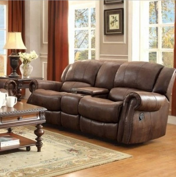 Levasy Brown Microfiber Double Glider Reclining Loveseat w/Console HE-8589-2