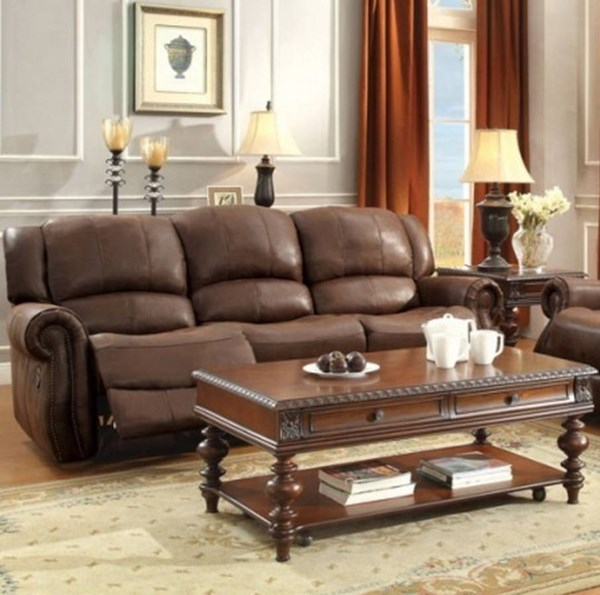 Levasy Transitional Brown Fabric Double Reclining Sofa HE-8589-3