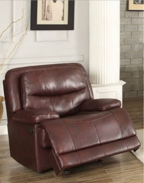 Risco Burgundy Faux Leather Glider Reclining Chair HE-8599BGD-1