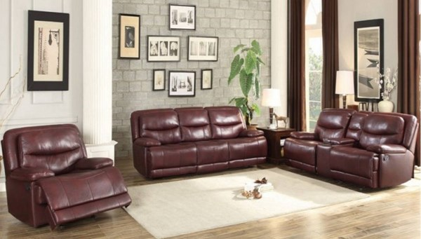 Risco Transitional Burgundy Faux Leather 3pc Living Room Set HE-8599-LR-S1