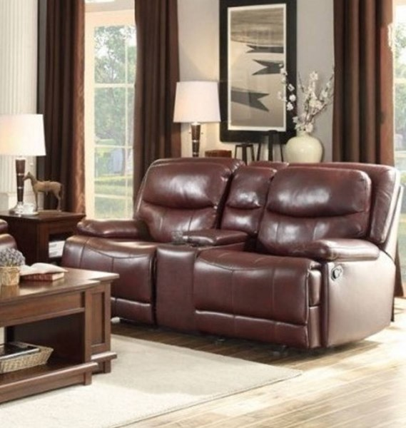Risco Faux Leather Double Glider Reclining Loveseat w/Console HE-8599-LS-VAR