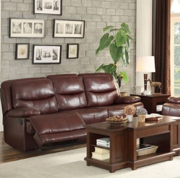 Risco Burgundy Faux Leather Double Reclining Sofa HE-8599BGD-3