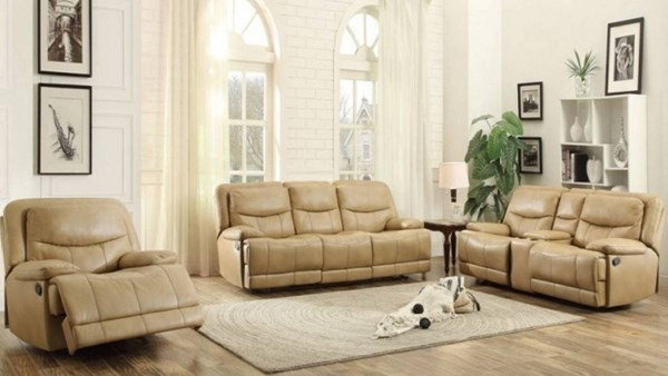Risco Transitional Honey Taupe Faux Leather 3pc Living Room Set HE-8599-LR-S2