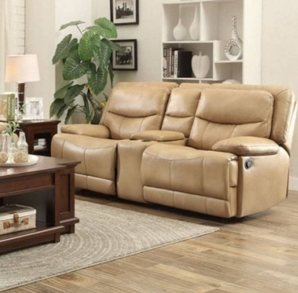 Risco Taupe Faux Leather Double Glider Reclining Loveseat w/Console HE-8599TPE-2