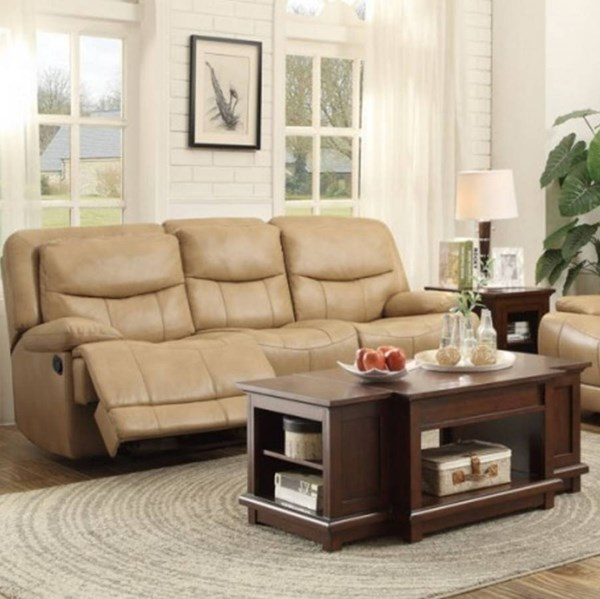 Risco Honey Taupe Faux Leather Double Reclining Sofa HE-8599TPE-3