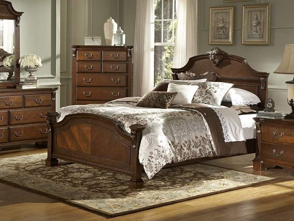 Legacy Elegant Brown Cherry Wood Panel Beds HE-866-beds