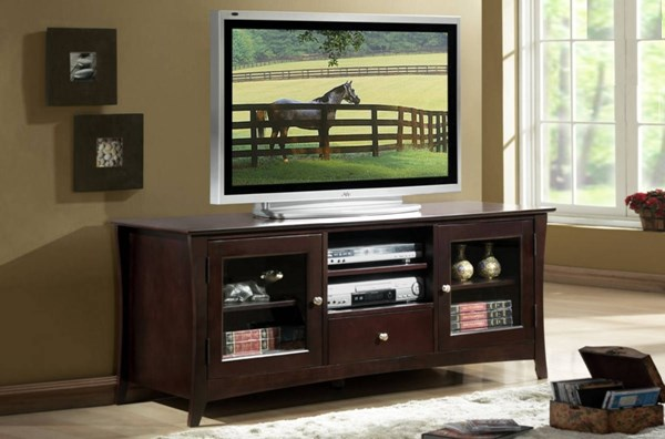 Borgeois Contemporary Espresso Wood Glass TV Stand HE-8740-T