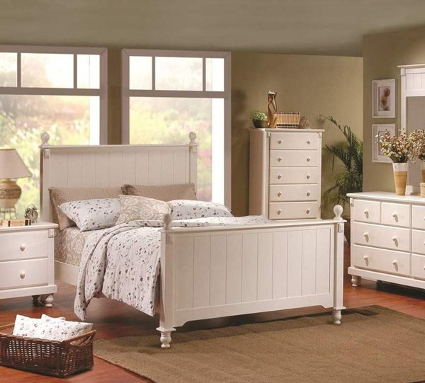Pottery Old World White Wood Full Poster Bed HE-875FW-1