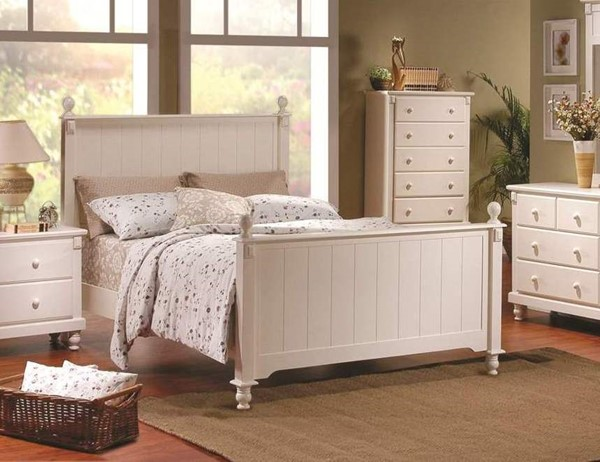 Pottery Old World White Wood King Panel Bed HE-875KW-1EK