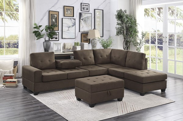 Home Elegance Maston 2pc Sectionals with Ottoman HE-9507-SEC-VAR1