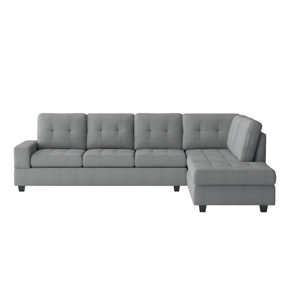 Home Elegance Maston Gray 2pc Sectional HE-9507GRY-SEC