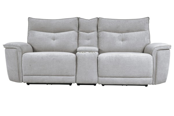 Home Elegance Tesoro Mist Gray Power Double Reclining Console Loveseat HE-9509MGY-2CNPWH-LS