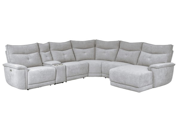Home Elegance Tesoro Mist Gray 6pc Power Sectional Set HE-9509MGY-6LRPW-SEC