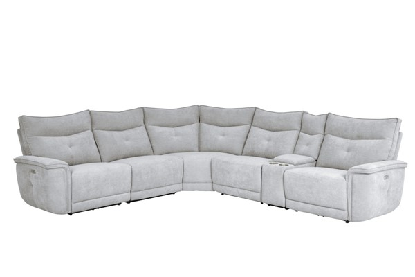 Home Elegance Tesoro Mist Gray 6pc Sectional HE-9509MGY-6LRRR-SEC