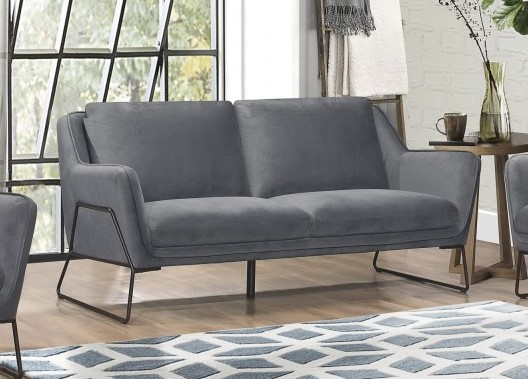 Home Elegance Barbal Gray Velvet Sofa HE-9516GY-3