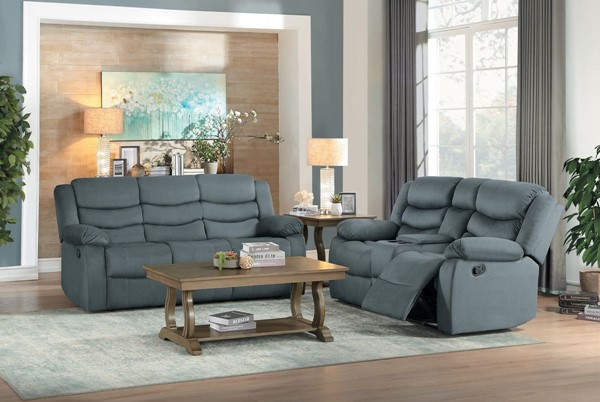 Home Elegance Discus Gray 2pc Living Room Set HE-9526GY-2-SET