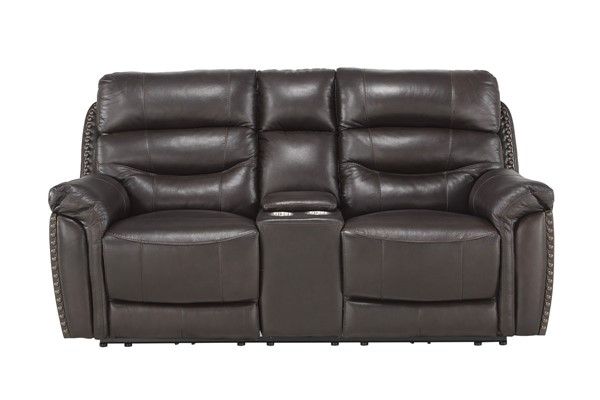 Home Elegance Lance Brown Power Double Reclining Love Seat HE-9527BRW-2PWH