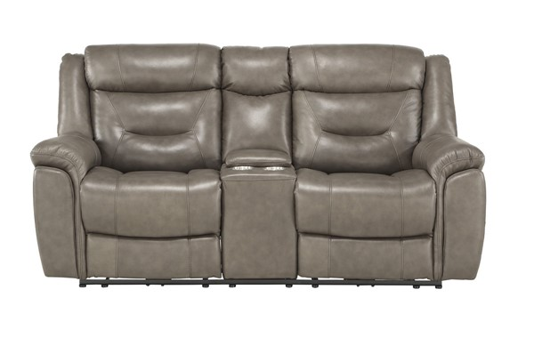 Home Elegance Danio Brownish Gray Power Double Reclining Love Seat HE-9528BRG-2PWH