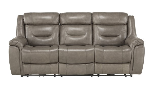 Home Elegance Danio Brownish Gray Power Double Reclining Sofa HE-9528BRG-3PWH