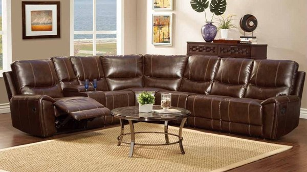 Gerald Dark Brown Wood Bonded Leather Sectional HE-9600-SEC