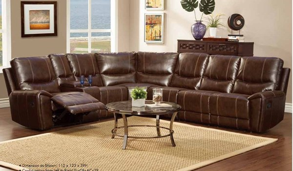 Gerald Dark Brown Wood Bonded Leather Right Side Reclining Love Seat HE-9600-2R